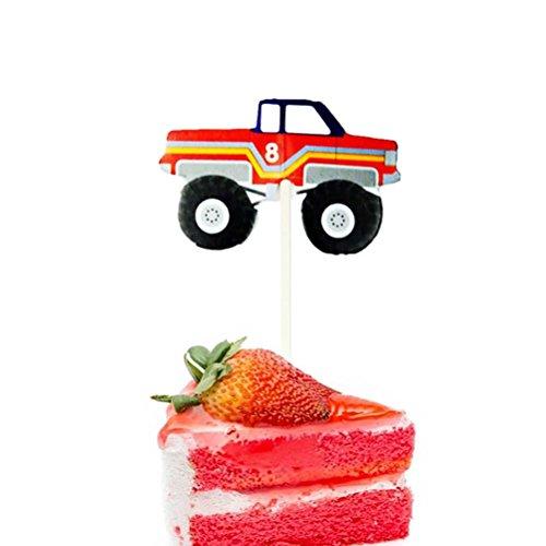 STOBOK 24 Stücke Auto Bagger Modell Kuchen Toppers Cupcake Zahnstocher Kuchen Dekoration für Baby Shower Geburtstag Hochzeit (Papier Modell Autos)