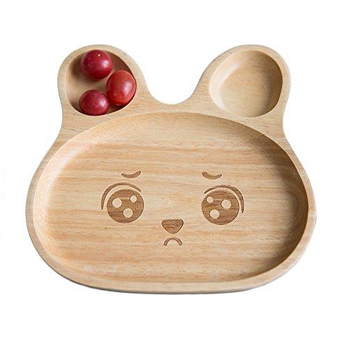 Holzgeschirr Teller Holz Schale Snackschale für Kind Hase