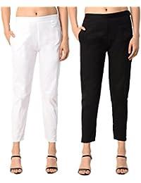 PAMO Black White Cream Women's Cotton Lycra Trousers/Pants