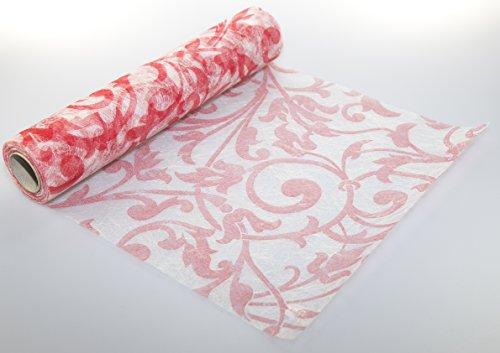 10 m x 30 cm Sizoflor Vlies Original Tischband Tischläufer Ornaments rot Barock für Hochzeit,...