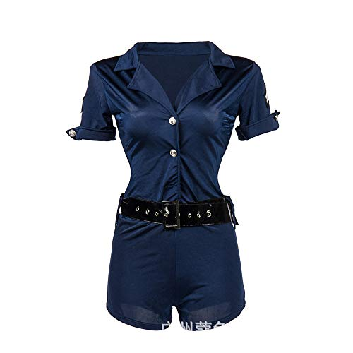 MAIMOMO Damen-Reizwäscheappealing Uniform_Female Polizei Spaß Uniform Halloween Party Party Rollenspiel Anzug, Blau, L (Halloween-party Seasons Four)
