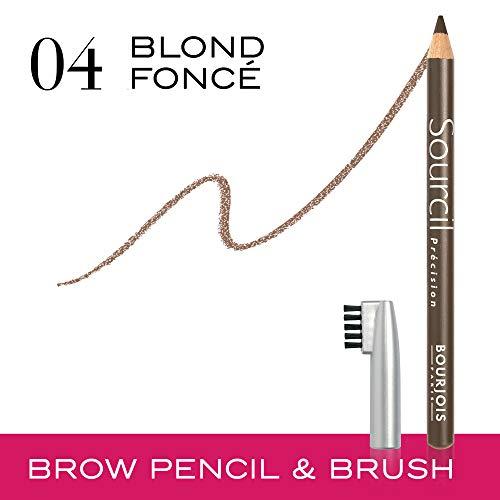 Bourjois Sourcil Précision Matita per Sopracciglia con Pettinino Incorporato, per Sopracciglia Ultradefinite, 04 Blond Foncé