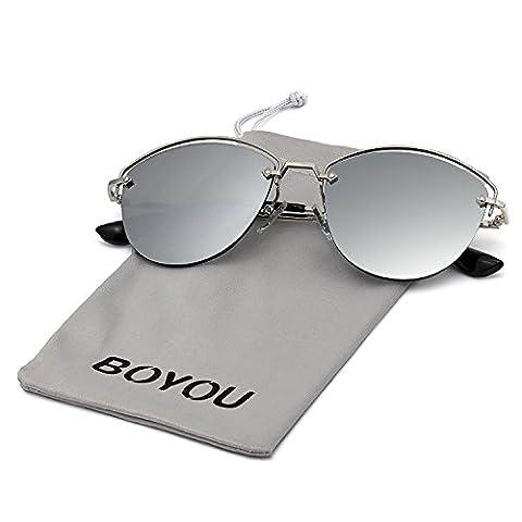 BOYOU Sonnebrille Fashion Mirrored Metal Frame Women Sunglasses Reflektierende Spiegel Objektiv