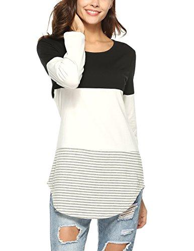 Lylafairy maglietta, strisce donna cotone casual primavera autunno camicia maglia maniche lunghe t shirt (it 42, nero)