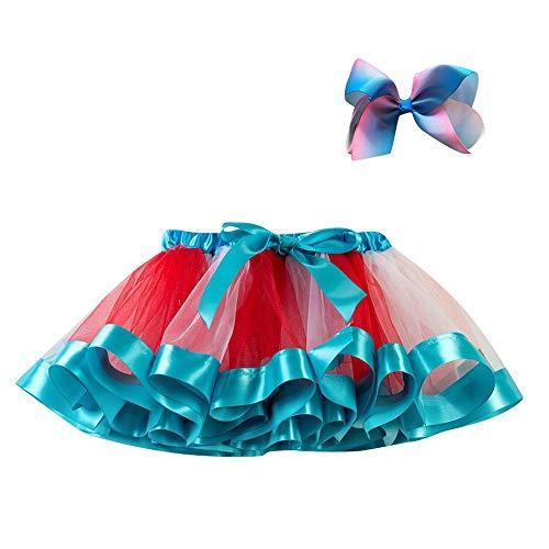 Obestseller Kleider für Mädchen Kinder Mesh Regenbogen Prinzessin Ballett Tutu Performance Rock Rock + Bogen Haarnadel Haarschmuck Set