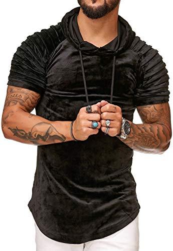 FiveSix Herren T-Shirt Veloursoptik Gesteppt Hoodie Kapuze Kurzarm Schwarz S