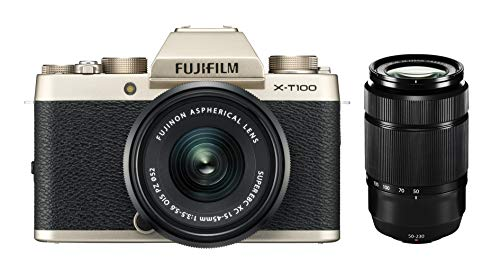 Fujifilm X-T100 inkl. XC15-45mmF3.5-5.6 OIS PZ + XC50-230mmF4.5-6.7 OIS, Champagner Gold -