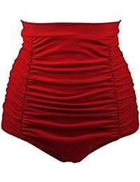 YoungSoul Maillots de bain vintage pin up - Bas de bikini froncé taille haute - Bas de maillots gainant à carreaux femme
