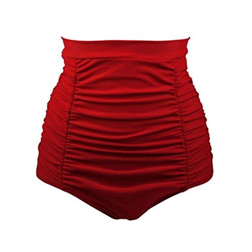 YoungSoul Bikinihosen mit hohe Taille für Damen - Bikinislip mit Raffung - Formende Schwimmen Bikini Hose Rot EU 42-44/Etikettengröße XL