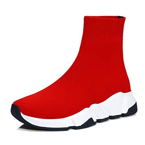 Scarpe da ginnastica uomo donna sportive traspirante calzino running sneakers fitness scarpe da all'aperto rosso/nero/bianco 38