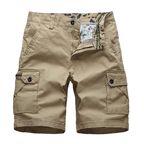 Xmiral Shorts Herren Reißverschluss Overall Streifen Kurze Hose Mit Taschen Sports Hose Training Shorts Fitness Beachshorts(Y Dunkelblau,M)