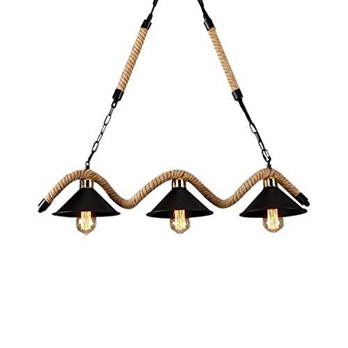 Retro Hemp Seil Pendelleuchte Runden Metall Lampenschirm Hängelampe Innenbeleuchtung Decke Kronleuchter Edison Licht Hängeleuchte Industrielle Pendellampe Dekor Esszimmer Leuchte 3-flg E27 (3-flammig)