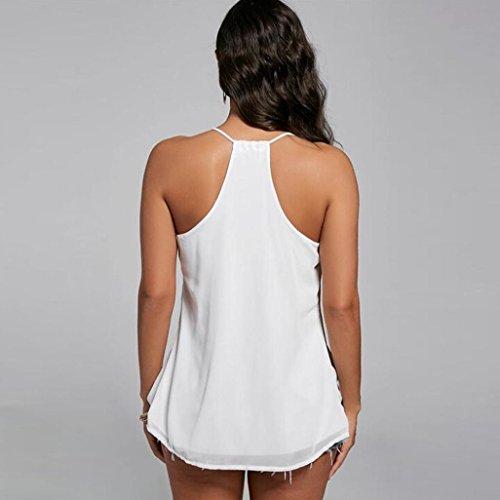 FNKDOR Femmes en mousseline de soie Gilet sans manches Chemisier Casual Débardeurs T-shirt Blanc