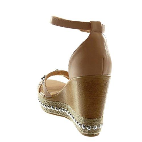 Angkorly Chaussure Mode Sandale Mule Lanière Cheville Plateforme Femme Perle Clouté Bois Talon Compensé Plateforme 10.5 CM Rose