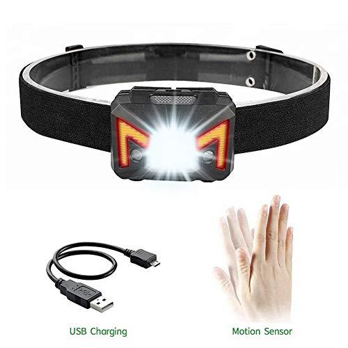 Opard LED Stirnlampe Induktions Kopflampe USB Kopfleuchten Wiederaufladbare 5 Lichtmodi 100lm Wasserdicht Perfekt für Camping, Joggen, Spazieren, Angeln, Abenteuer, Bergsteigen usw