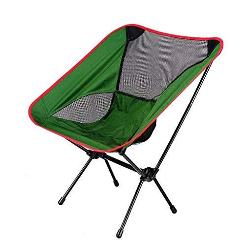 WRZHRXXH Freizeit Strand Stuhl Im Freien Falten Mond Stuhl Ultraleicht Metall Oxford Camping Wandern Stuhl Camping Freizeit Barbecue-Dunkelgrün (mesh)-59X50X64CM