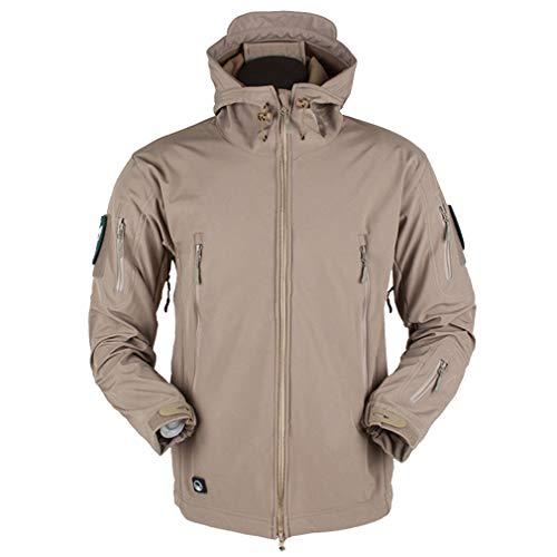 CIKRILAN Herren Outdoor Soft Shell Military Army Tactical Combat Jacke Mantel Fleece Lined Sports Hoodie Windbreaker(XL, Khaki) Soft Shell Trench