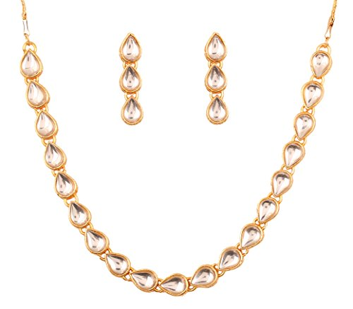 Touchstone Indian Bollywood traditional Mughal Kundan polki look neutral bridal designer jewelry single line necklace set for women in gold tone  available at amazon for Rs.399