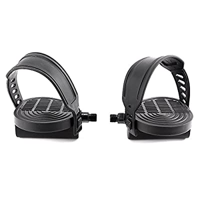 """Pair of 1/2"""" Thread Generic Extra Large Exercise Bike Pedals and Pedal Strap Set Cycles Home Gym Bicycle from Surepromise"""