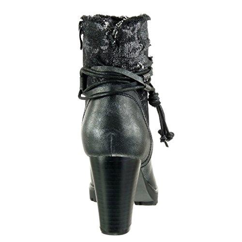 Angkorly - Scarpe Moda Stivaletti Scarponcini cavalier bi-materiale donna tanga nodo camouflage Tacco a blocco alto 8 CM Nero
