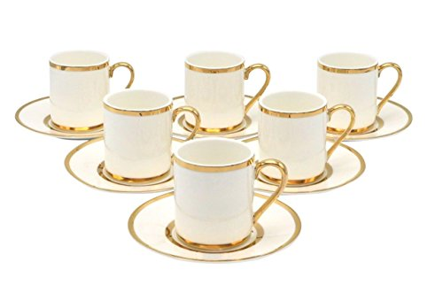 Bone China Porzellan Espresso Turkish Coffee Demitasse Set von 6 Tassen + Untertasse mit Gold Band Grenzen - Gold 6 Tasse