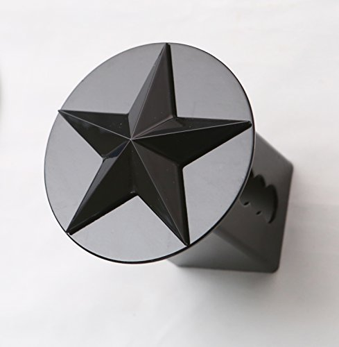 Texas Lone Star 3d Black Emblem on Black Trailer Metal Hitch Cover Fits 2 Receivers by HitchCover - Hitch Cover Receiver