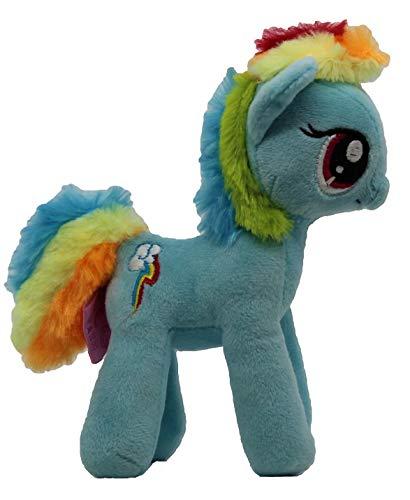 MLP Famosa My Little Pony Pferd 17cm Plüschfigur, Kuscheltier für Kinder, Mädchen und Jungen, zum Sammeln, Kuscheln und Spielen (Rainbow Dash, blau)