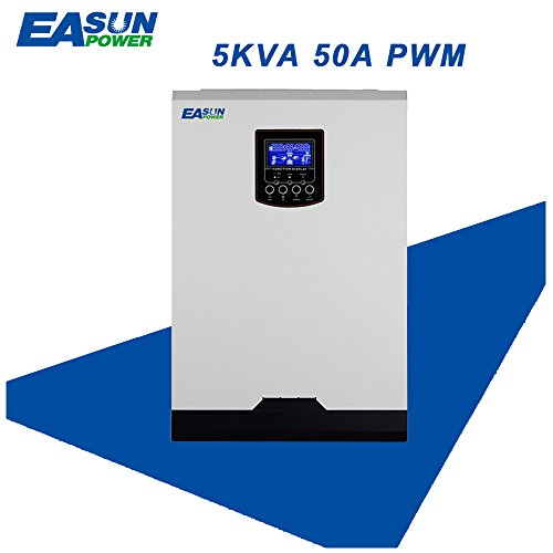 Easun Power Solar Inverter High Power Parallel 5Kva 4000W Off Grid Generate Electricity 48V to 220V Conversion 40A PWM Pure Sine Wave Hybrid Inverter 60A AC Charger for Solar Power Home Appliances