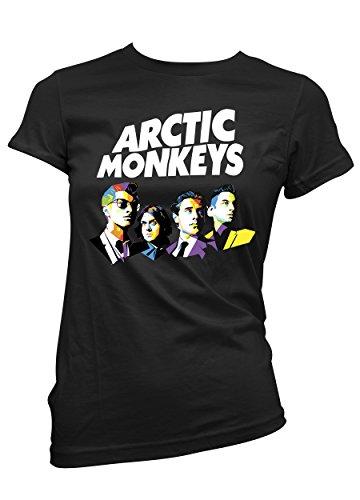 """T-shirt femme """"Arctic Monkeys"""" - T-shirt indie rock art logo 100% coton LaMAGLIERIA,M, Noir"""