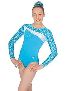 The Zone Z348 Festival justaucorps de gymnastique à manches longues, turquoise, taille 38