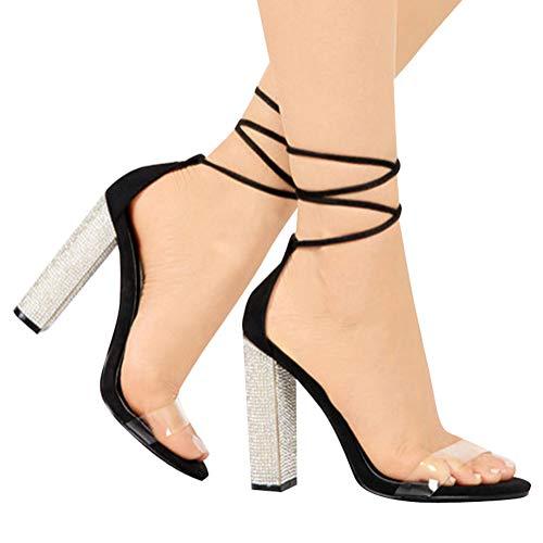High Heels Sandaletten Damen Stiletto Schuhe, 11.5cm Frauen Römersandalen, Transparente Peep Toe Sandalen, Knöchel Schnalle Party Freizeit Hochzeit Abend Sommer Strand Schuhe Schwarz 34 EU