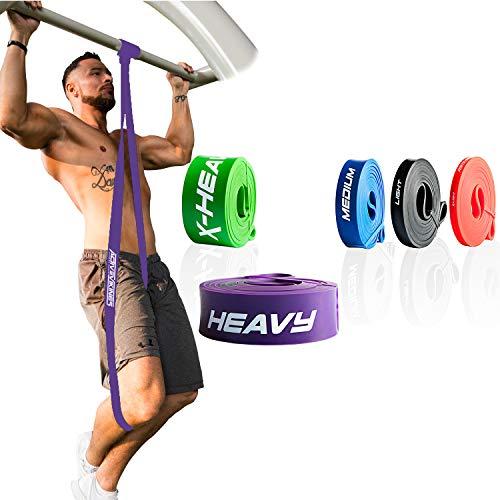 ActiveVikings® Pull-Up Fitnessbänder | Perfekt für Muskelaufbau und Crossfit Freeletics Calisthenics | Fitnessband Klimmzugbänder Widerstandsbänder (4 - Lila : Heavy (starker Widerstand))