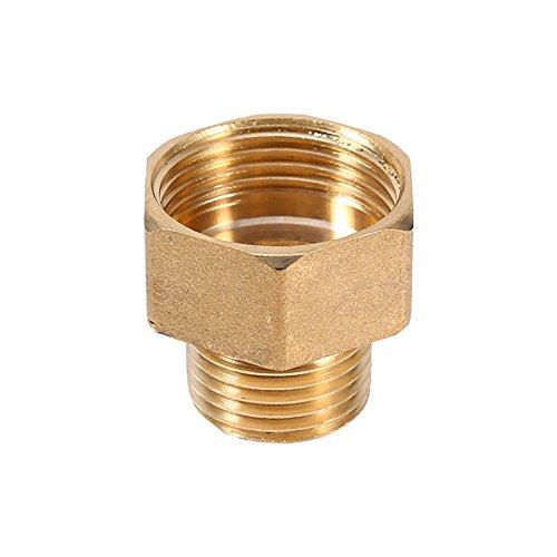 Raccord de tuyau d'eau en laiton à connexion rapide Adaptateur réducteur à bague hexagonale 1/2 BSPT mâle et 3/4 BSPT femelle