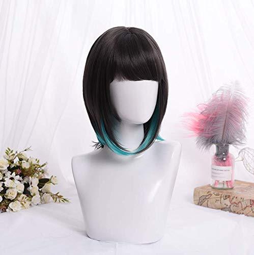 glatte Haare schräge Pony Perücke Kopfbedeckung realistische Damen cos Gradienten atmungsaktiv - schwarz, grün ()