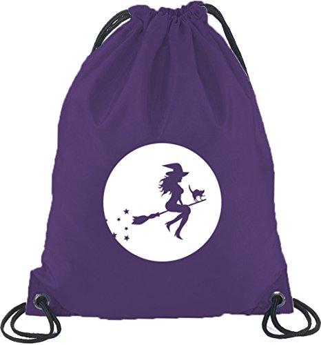 Halloween Grusel Kostüm Turnbeutel Rucksack Sport Beutel mit Halloween - Hexe Motiv, Größe: onesize,Lila (Violett Halloween-kostüm)