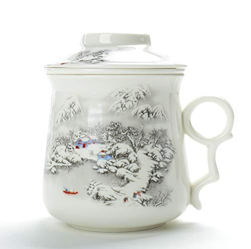 China Teetasse (400 ml) mit Filter und Deckel (Schnee), Keramiksieb aus Keramik, großer Tee-Becher, steiler Infuser, einzigartiger großer Steeper-Men-Mom-Office-Marker für Erwachsene, Geburtstag Tee Steiler