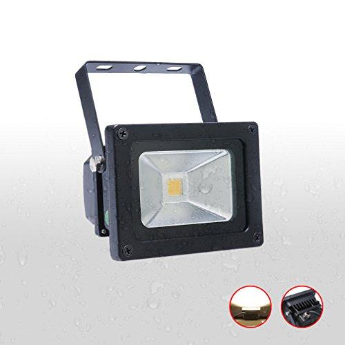 Auralum® 1x 10W LED Flutlicht Fluter Lampe strahler Außen Strahler Scheinwerfer Super hell Leuchte warmweiß Wasserdicht schwarz