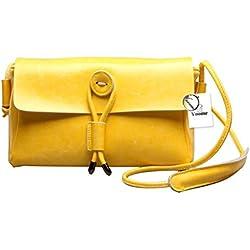 Bolso de Hombro de Cuero Genuino Vintage de Yoome Mujeres Bolso de Hombro Bolso de Satchel Hecha a Mano - Amarillo