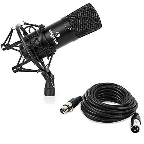 Auna CM001B Studio-Mikrofon XLR Kondensatormikrofon mit 6m XLR Kabel (32mm Kapsel mit Goldmembranen, ausgeprägte Nierencharakteristik, inkl. Mikrofonspinne, Schutztasche und 5/8''-Adapter zur Stativmontage) schwarz