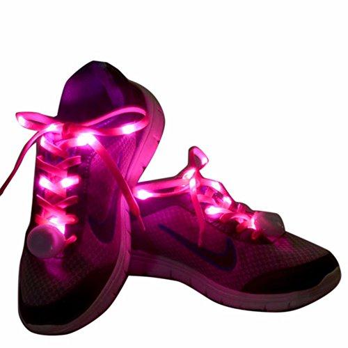 iiniim 1paio LED lampeggiante Nylon Lacci fascio di luce Sneaker Scarpe Strings, Pink, taglia unica - Rave Fascio
