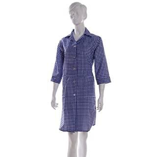 Ladies Gingham Check Work Overalls with ¾ Length Sleeves Navy XOS