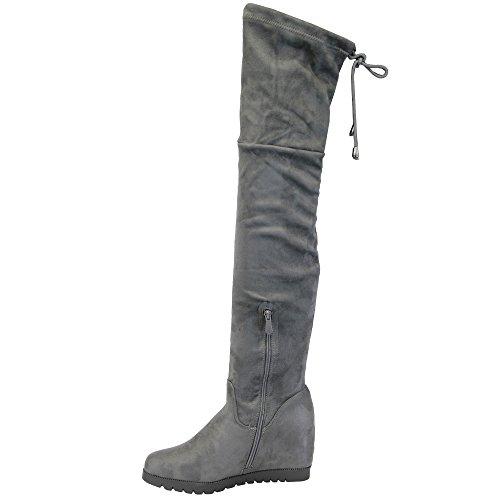 Femmes Bottes Long Au Dessus Du Genou Cuir Suédé Look Chaussures Par Kelsi Gris - AF55