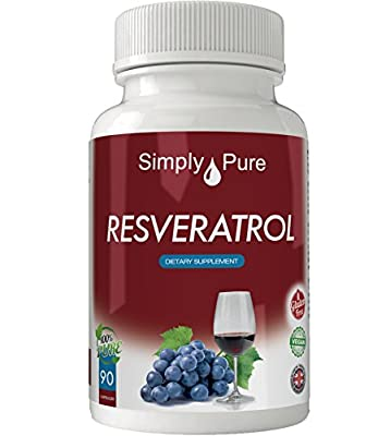New - Exclusive to Amazon - Simply Pure - 90 Resveratrol Capsules - High Strength (500mg) - 100% Natural - Gluten Free - Vegan - Moneyback Guarantee