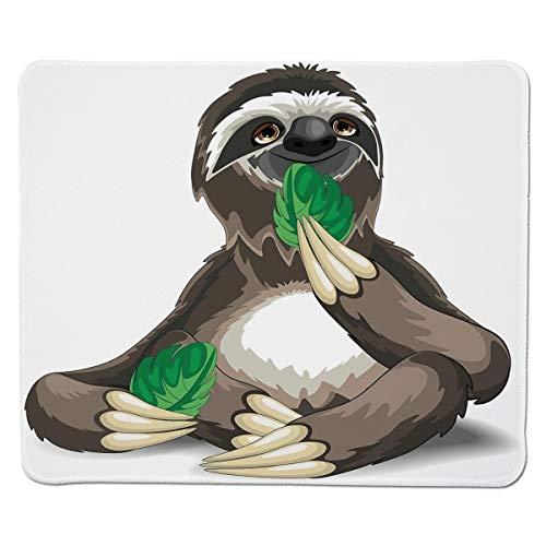 Mousepad Trägheit, schlaffes wildes Dschungel-Tier, Das Grün-Blätter faules indolentes Spaß-Charakter-dekoratives, genähter Rand-Nicht Beleg-Gummi isst