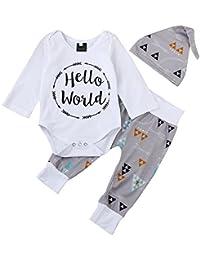 QUICKLYLY 3pcs Recién Nacido Infantil Bebé Chico Carta Impresión Mameluco Tops + Flecha Pantalones + Sombrero Trajes Ropa…