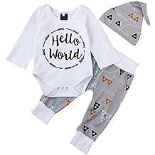 QUICKLYLY 3pcs Recién Nacido Infantil Bebé Chico Carta Impresión Mameluco Tops + Flecha Pantalones + Sombrero