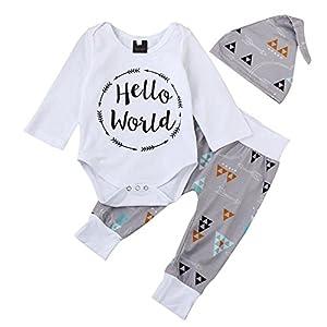 3456b6f24 QUICKLYLY 3pcs recién Nacido Infantil Bebé Chico Carta Impresión Mameluco  Tops + Flecha Pantalones + Sombrero Trajes Ropa Conjunto (6~12 Meses)