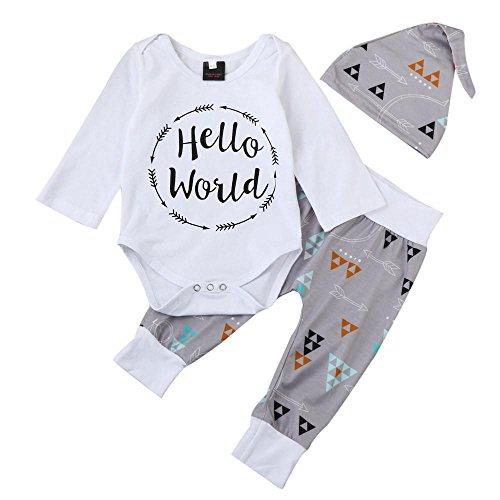 QUICKLYLY 3pcs recién nacido Infantil Bebé Chico Carta Impresión Mameluco Tops + Flecha Pantalones + Sombrero Trajes Ropa Conjunto (0~3 Meses)