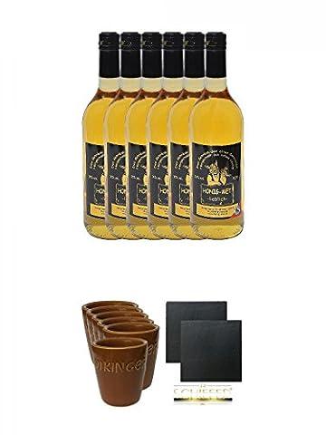 Honig Met lieblich 6 x 0,75 Liter + Wikinger Met Tonbecher 6er Set + Schiefer Glasuntersetzer eckig ca. 9,5 cm Ø 2 Stück