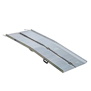 HOMCOM Portable Folding Aluminum Ramp with Carry Handle for Wheelchair, Scooter, Pet, Car Mobility
